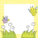 Summer background. Vector summer background with flowers and insects Royalty Free Stock Image