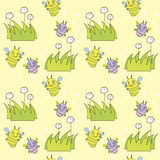Summer background. Vector seamless summer background with flowers and insects Vector Illustration