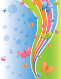 Summer background. Cute background with butterflies and rainbow Royalty Free Stock Images