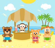 Summer background with animals on the beach Stock Image