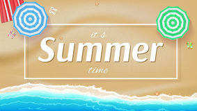 Summer background, banner with seashore, sun umbrellas, golden sands and beach Mat. Royalty Free Stock Image