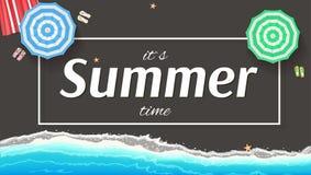 Summer background, banner with seashore, sun umbrellas, golden sands and beach Mat. Stock Photo