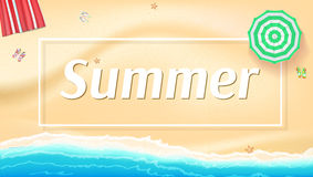 Summer background, banner with seashore, sun umbrellas, golden sands and beach Mat. Royalty Free Stock Photo