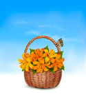 Summer background. Basket full of flowers and a butterfly. Royalty Free Stock Photo