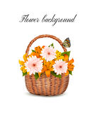 Summer background. Basket full of flowers and a butterfly. Royalty Free Stock Photography