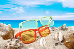 Summer background with beach accesories Stock Photo