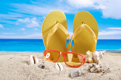 Summer background with beach accesories Stock Photography