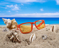 Summer background with beach accesories Royalty Free Stock Photo