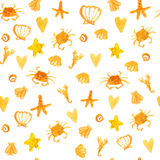 Summer background with beach crabs, hearts and star fish. Sunny seamless vector texture. Yellow summer background with beach crabs, hearts and star fish. Sunny Stock Image
