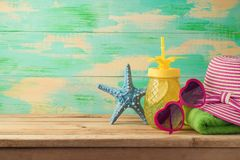 Summer background with beach items royalty free stock photo