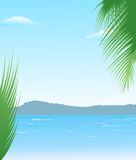 Summer background with beach and mountains Stock Image