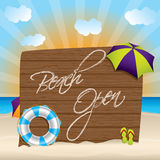 Summer background with beach open sign Royalty Free Stock Photography