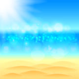 Summer background with beach sea and sky vector Royalty Free Stock Image
