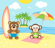 Summer background with bear and monkey on the beac Royalty Free Stock Photo