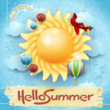 Summer background with big sun and message Royalty Free Stock Photography