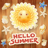 Summer background with big sun and text on wood Royalty Free Stock Image
