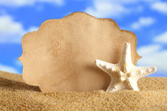 Summer background - blank card and starfish Royalty Free Stock Image