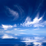 Summer background with blue water and sky. With with clouds Stock Photos