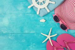 Summer background  on blue wooden board Royalty Free Stock Images