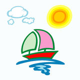 Summer background with boat clouds and sun. Illustration of summer background with boat and sun Stock Photos
