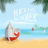 Summer background with boat Stock Photo