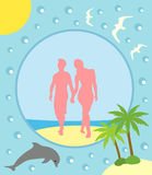 Summer background with boy and girl Royalty Free Stock Photography