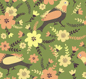 Summer background in bright colors. Cute cartoon birds and flowers in vector. Stylish floral seamless pattern. Summer background in bright colors Royalty Free Stock Photos