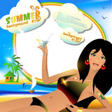 Summer background or card with sexy girl with cocktail. Vector illustration Royalty Free Stock Photo