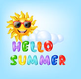Summer background with cartoon sun character Stock Images