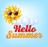 Summer background with cartoon sun Royalty Free Stock Photo