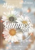 Summer background with chamomile and delicate blurred shining background. Summer party poster concept. Template for. Summer background with chamomile and stock illustration