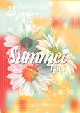 Summer background with chamomile and delicate blurred shining background. Summer party poster concept. Template for. Summer background with chamomile and royalty free illustration