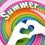 Children`s hands in the shape of heart and text Summer on a colorful abstract background Creative modern youth concept of posters stock illustration