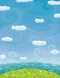 Summer Background With Cloudy Sky Sea And Lawn. Vector background with summer landscape. Blue sky with clouds, sea, green grass and flowers Stock Image