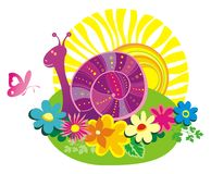 Summer background with color snail and butterfly. vector illustration