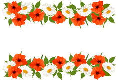 Summer background with colorful beautiful flowers. Vector illust Stock Images