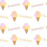 Summer background with colorful blur ice cream seamless pattern illustration Stock Images
