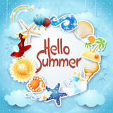 Summer background with colorful icons and message Royalty Free Stock Photography