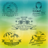 Summer background composition. Summer and holidays with seaside sun and yachts background composition flat vector illustration Royalty Free Stock Images