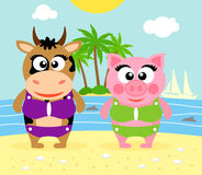 Summer  background with cow and pig Royalty Free Stock Photography