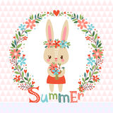 Summer background with cute bunny. Royalty Free Stock Photo