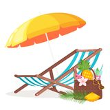 Summer background with deck chair. And beach umbrella isolated on white background. Vector illustration stock illustration