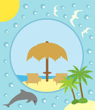 Summer background with deckchair and umbrella Stock Photography