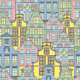 Summer background with decorated fronts of houses Stock Images