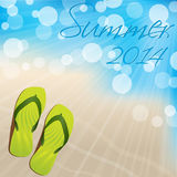 Summer background design with flip flops Stock Images