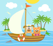 Summer background with dog and cat on a boat Royalty Free Stock Photos