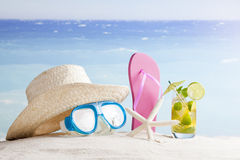 Summer background with drinks on the beach Royalty Free Stock Photos