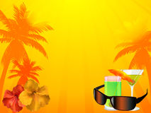 Summer background with drinks sunglasses Stock Images
