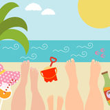 Summer background with with family at the seaside Royalty Free Stock Photography