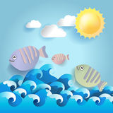 Summer background with fish and sun, paper style.vector. Illustration Stock Photos
